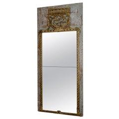 Tall 19th Century Swedish Original Painted Trumeau Mirror