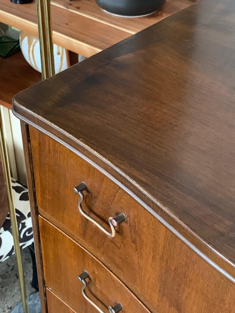 Walnut Tall Danish Seven Drawer Chest For Sale