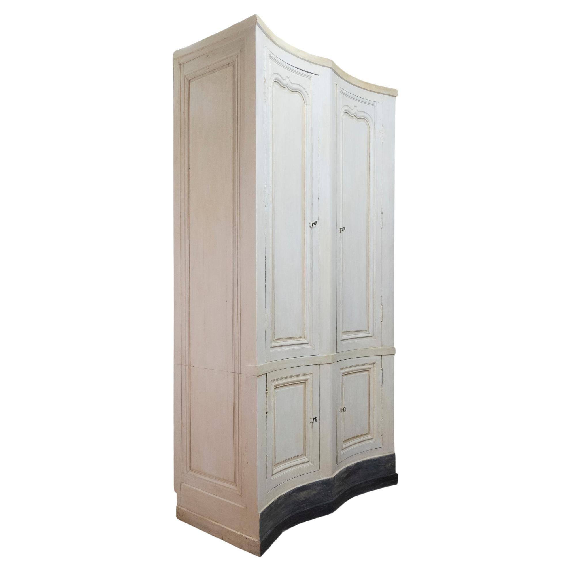 Tall French Mid 19th Century Serpentine Shaped Painted Cupboard, Armoire