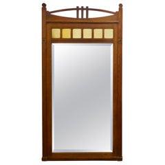 Tall Golden Oak Arts & Crafts Console Mirror
