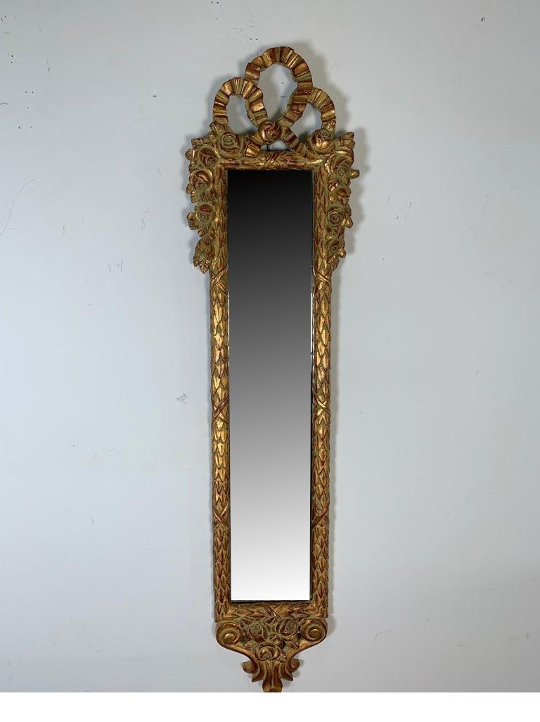 Tall Slim Wall Mirror In Giltwood Frame For Sale At 1stdibs