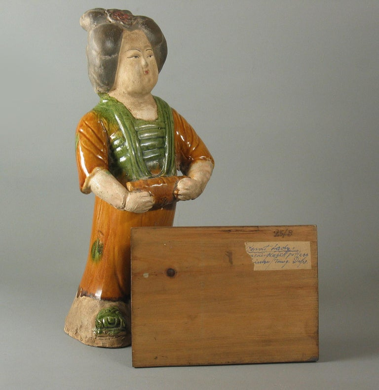 Pottery Tang Style Sancai-Glazed Figure of a Court Lady For Sale