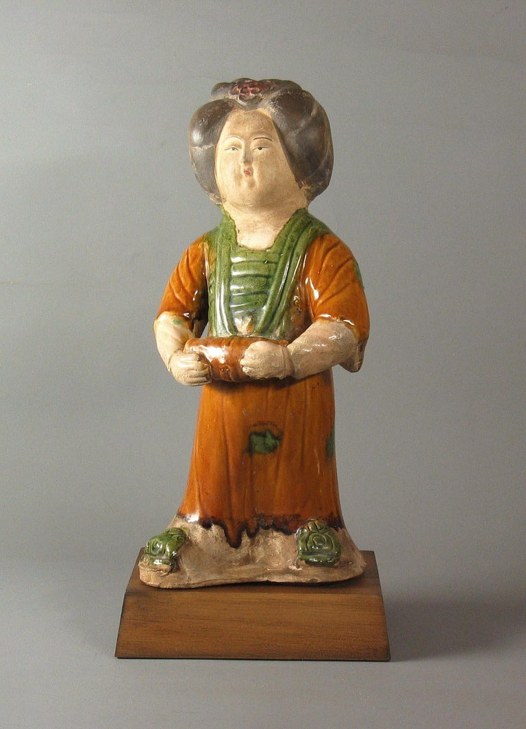 Tang Style Sancai-Glazed Figure of a Court Lady For Sale 1