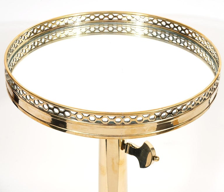 Telescoping Mirror Top Brass Occasional Tables by Maison Toulouse, Paris In Good Condition For Sale In Ft. Lauderdale, FL