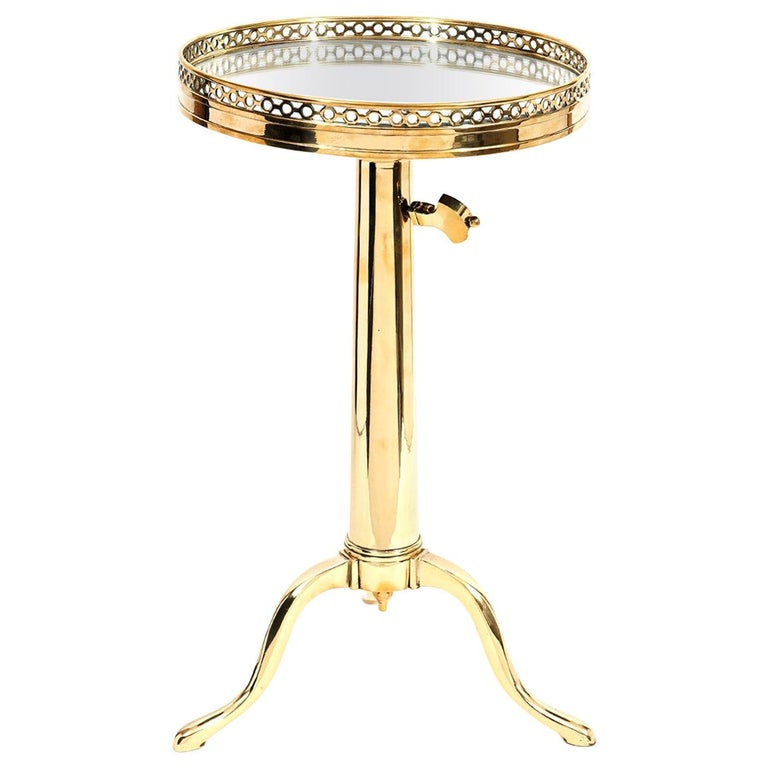 Telescoping Mirror Top Brass Occasional Tables by Maison Toulouse, Paris For Sale
