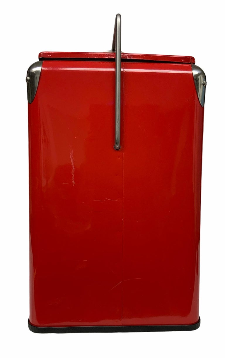 Hand-Painted Temprite Coca Cola Large Cooler For Sale