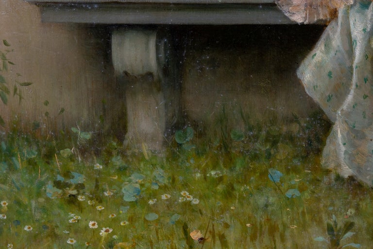 Tender Moment in a Garden 'In Love' Oil on Canvas, Federico Andreotti For Sale 6