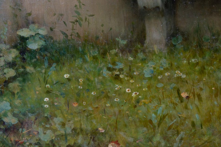 Tender Moment in a Garden 'In Love' Oil on Canvas, Federico Andreotti For Sale 7