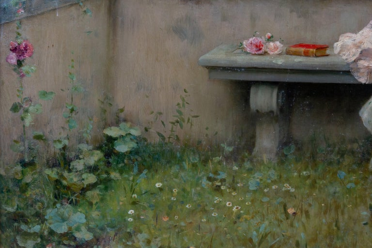 Tender Moment in a Garden 'In Love' Oil on Canvas, Federico Andreotti For Sale 8