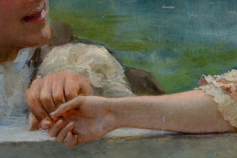 Tender Moment in a Garden 'In Love' Oil on Canvas, Federico Andreotti For Sale 10