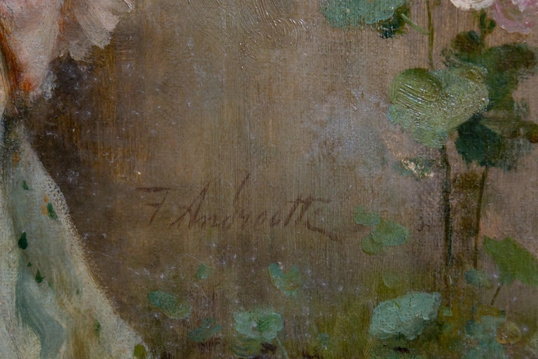 Tender Moment in a Garden 'In Love' Oil on Canvas, Federico Andreotti For Sale 11