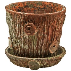 Terracotta Pot in the Shape of a Tree Trunk