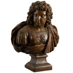 Terracotta Bust of King Louis XIV of France in Roman Armour