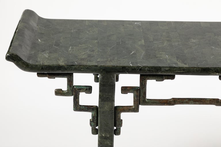 Chinoiserie Tessellated Stone and Bronze Console Table by Maitland-Smith For Sale