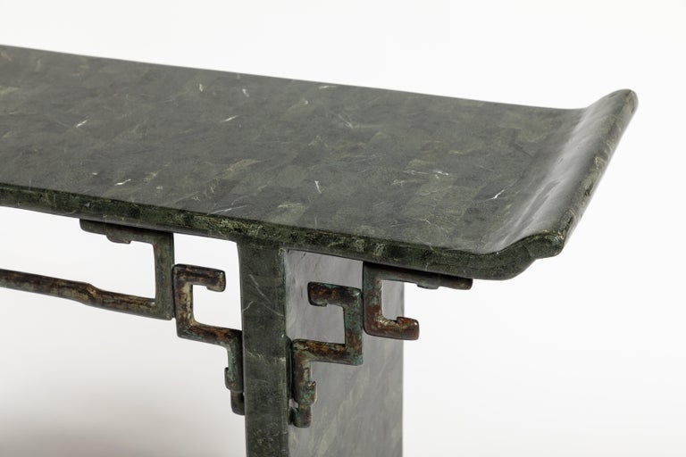 Philippine Tessellated Stone and Bronze Console Table by Maitland-Smith For Sale