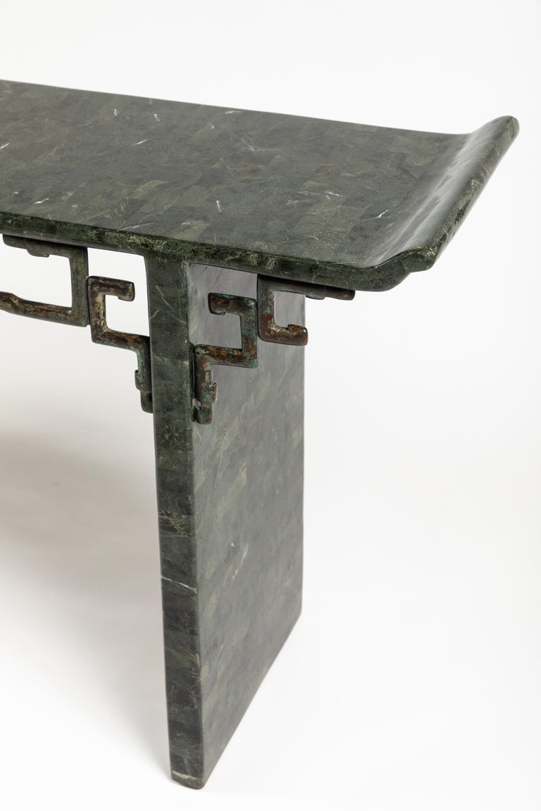 Patinated Tessellated Stone and Bronze Console Table by Maitland-Smith For Sale