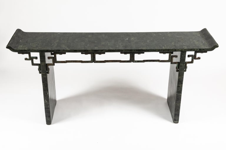 Tessellated Stone and Bronze Console Table by Maitland-Smith In Good Condition For Sale In Los Angeles, CA