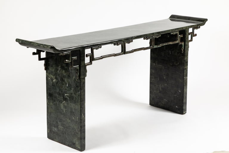 Late 20th Century Tessellated Stone and Bronze Console Table by Maitland-Smith For Sale