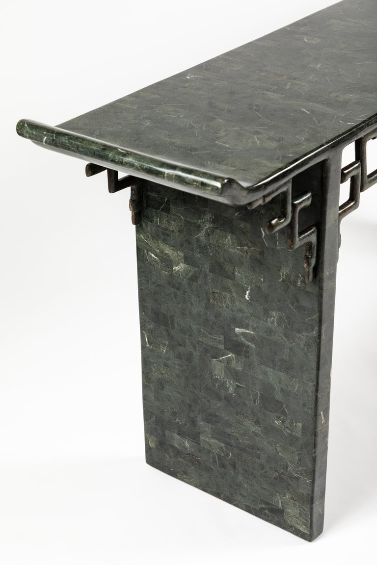 Tessellated Stone and Bronze Console Table by Maitland-Smith For Sale 2