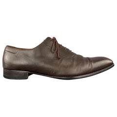 A. TESTONI Size 13 Brown Leather Cap Toe Lace Up