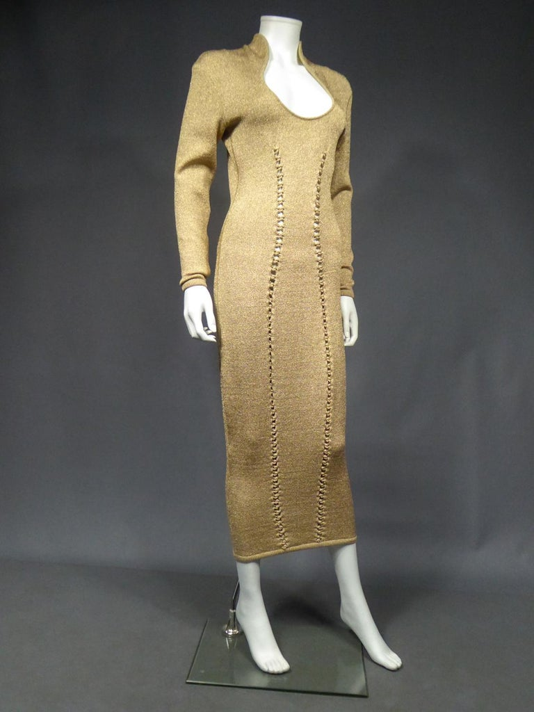 A Thierry Mugler French Evening Dress in Lurex Chiné KnitwearCirca 1990/2000 For Sale 5