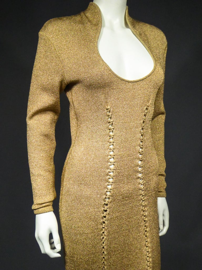 A Thierry Mugler French Evening Dress in Lurex Chiné KnitwearCirca 1990/2000 For Sale 6