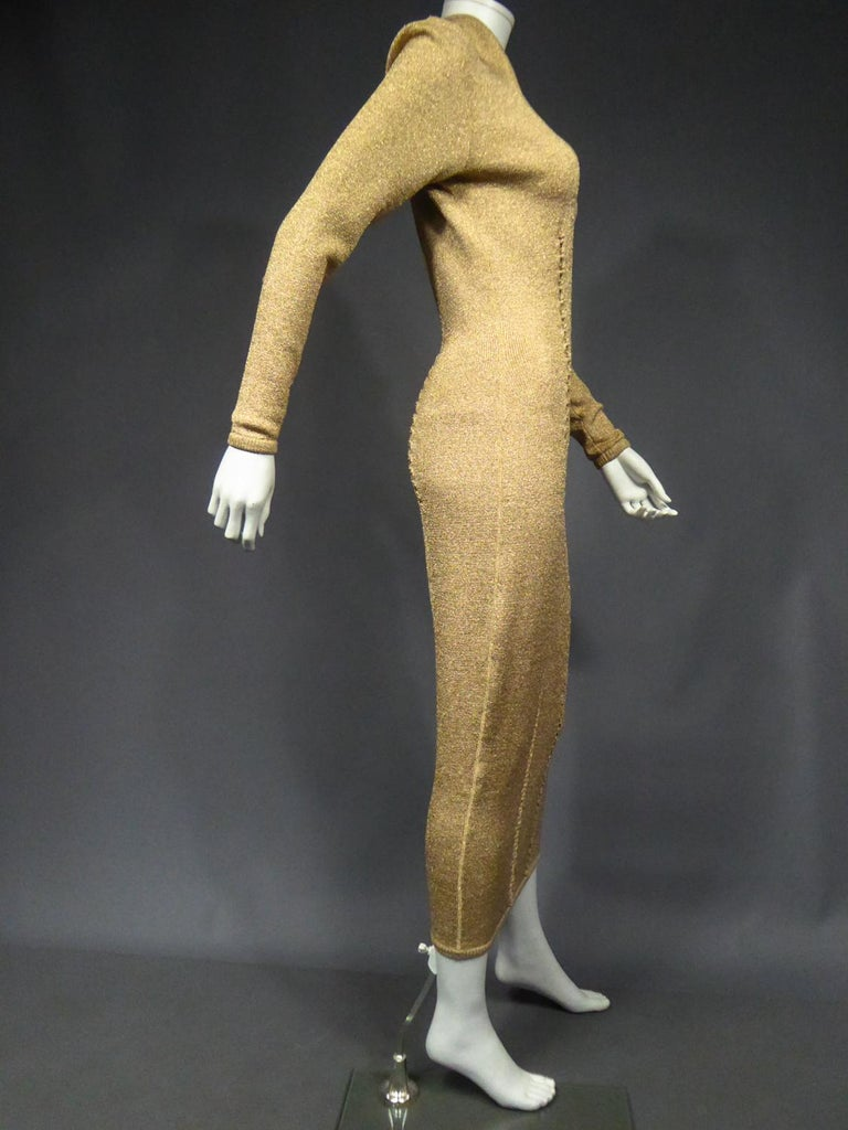 A Thierry Mugler French Evening Dress in Lurex Chiné KnitwearCirca 1990/2000 For Sale 8