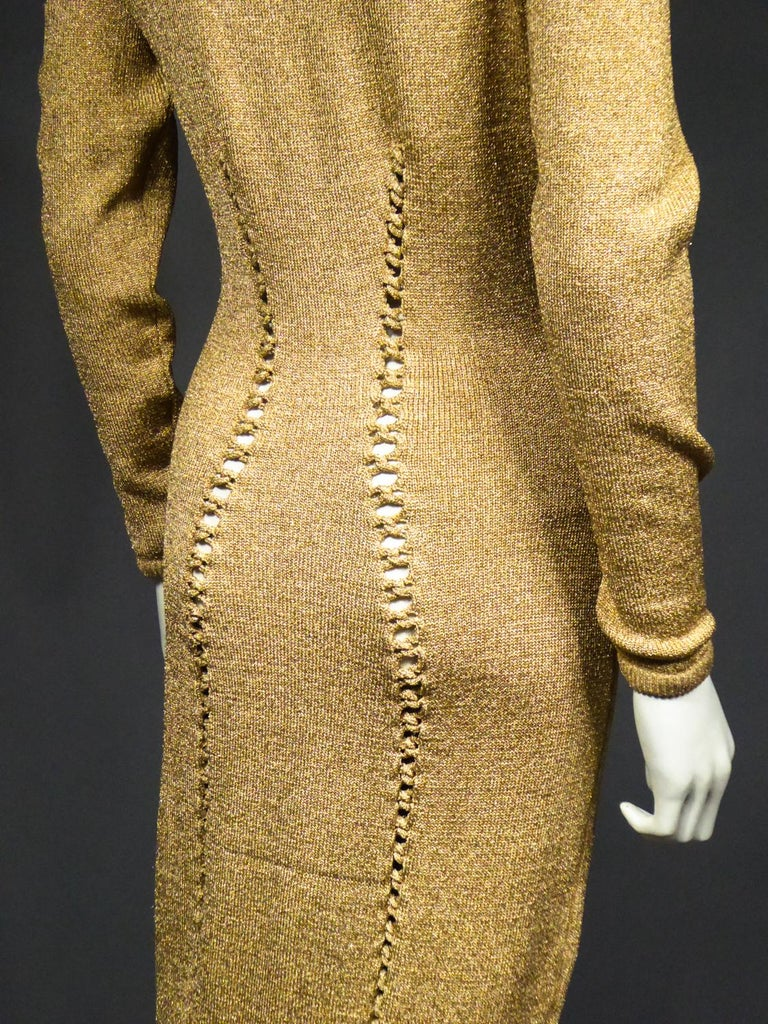 A Thierry Mugler French Evening Dress in Lurex Chiné KnitwearCirca 1990/2000 For Sale 9