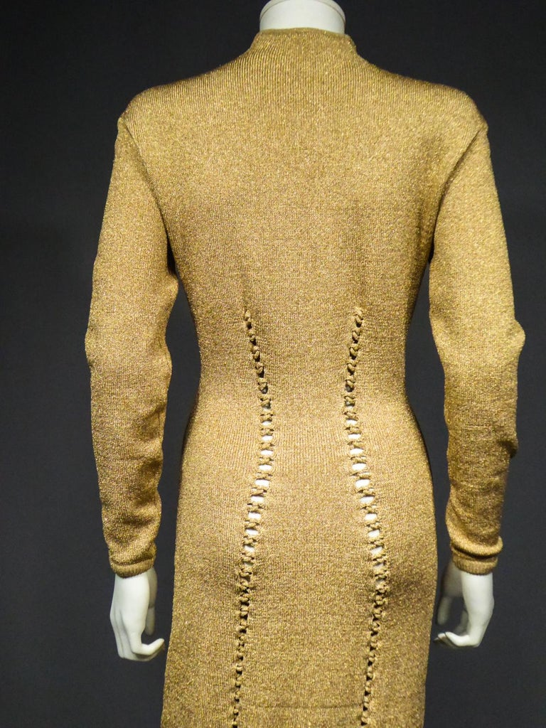 A Thierry Mugler French Evening Dress in Lurex Chiné KnitwearCirca 1990/2000 For Sale 10
