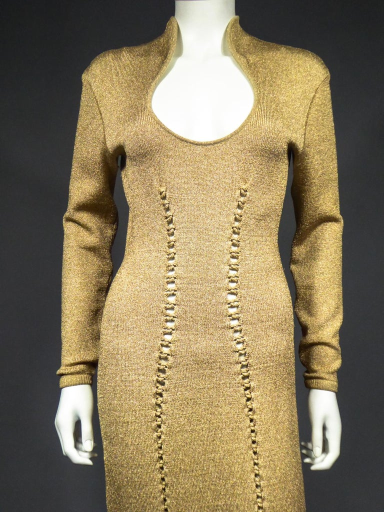 Women's A Thierry Mugler French Evening Dress in Lurex Chiné KnitwearCirca 1990/2000 For Sale