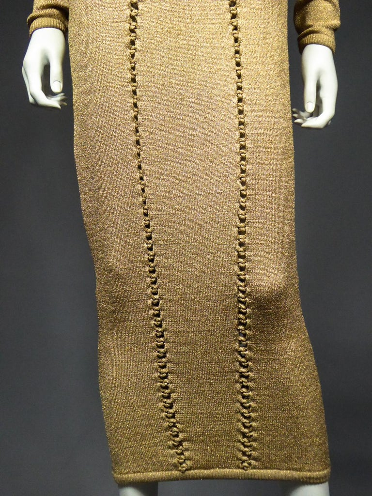 A Thierry Mugler French Evening Dress in Lurex Chiné KnitwearCirca 1990/2000 For Sale 3