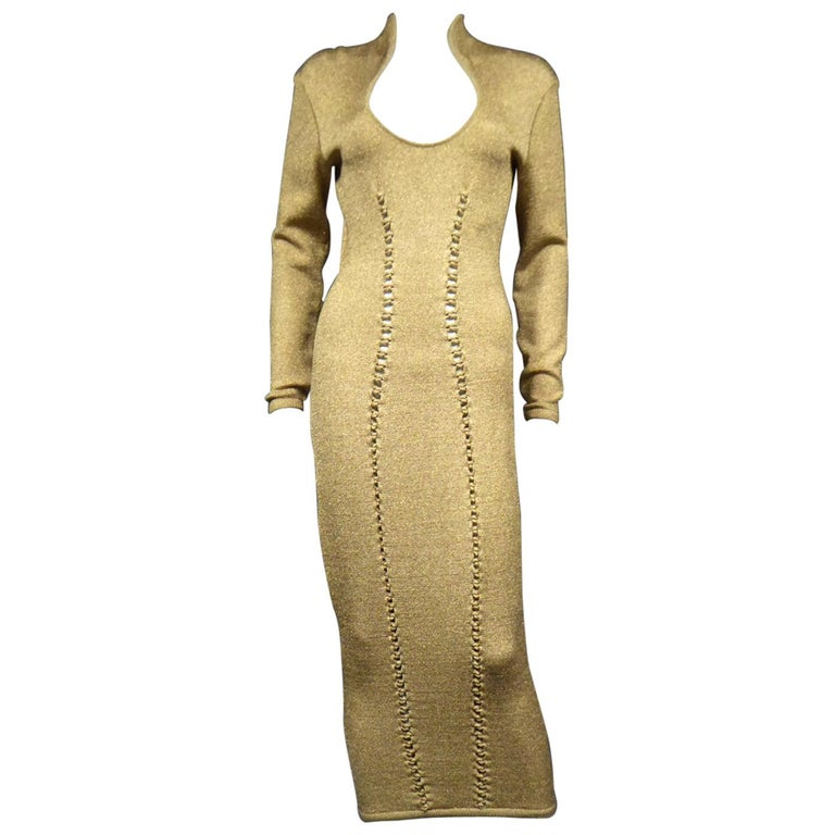 A Thierry Mugler French Evening Dress in Lurex Chiné KnitwearCirca 1990/2000 For Sale