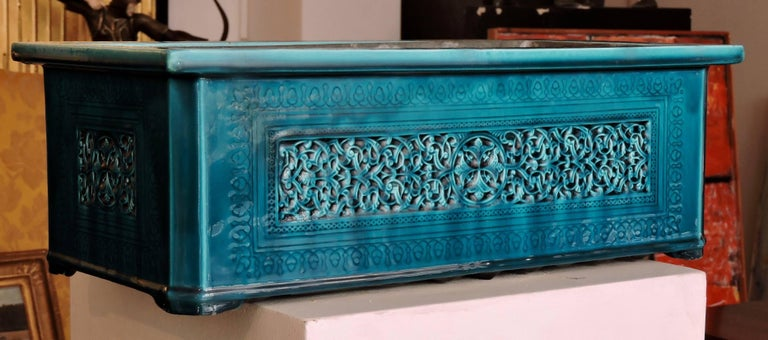 French Théodore Deck Blue-Persian Faience Islamic Design Jardinière 19th Century For Sale