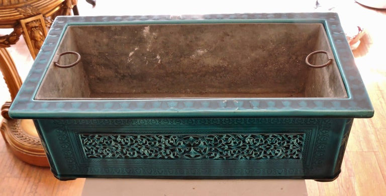 Enameled Théodore Deck Blue-Persian Faience Islamic Design Jardinière 19th Century For Sale