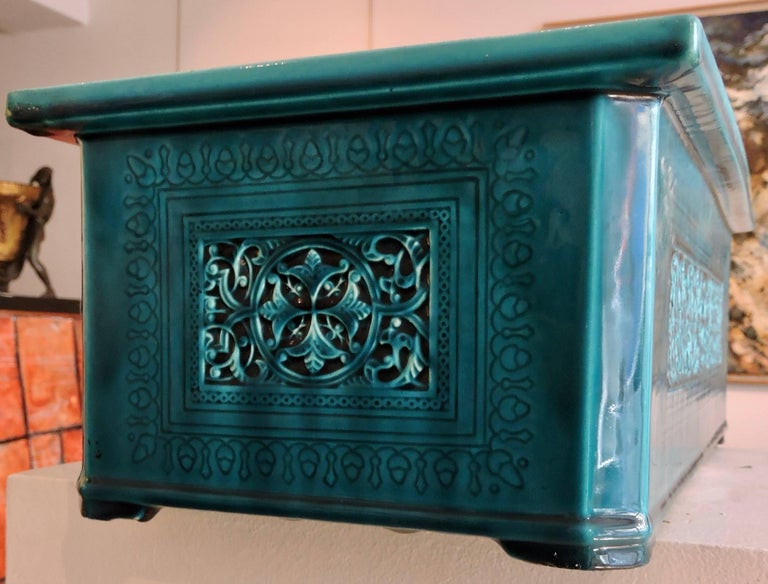 Théodore Deck Blue-Persian Faience Islamic Design Jardinière 19th Century In Good Condition For Sale In Saint-Ouen, FR
