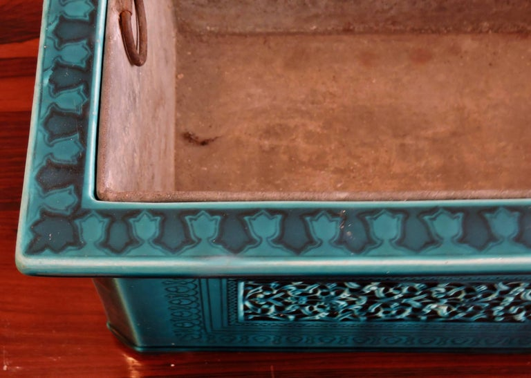 Théodore Deck Blue-Persian Faience Islamic Design Jardinière 19th Century For Sale 2