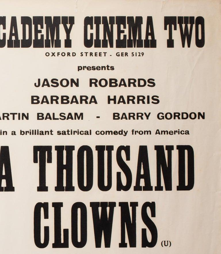 British A Thousand Clowns 1966 Academy Cinema UK Quad Film Poster, Strausfeld For Sale