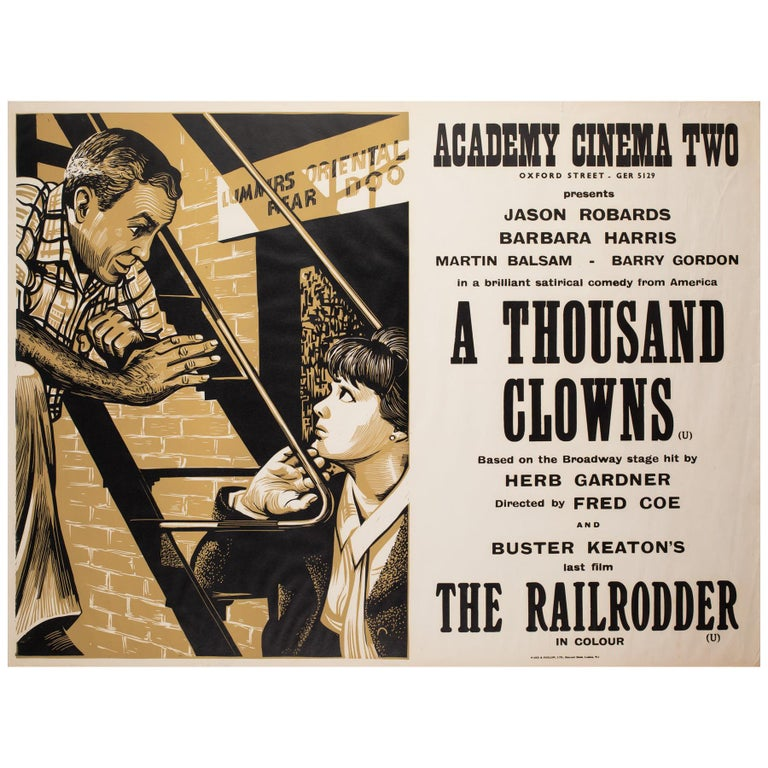 A Thousand Clowns 1966 Academy Cinema UK Quad Film Poster, Strausfeld For Sale