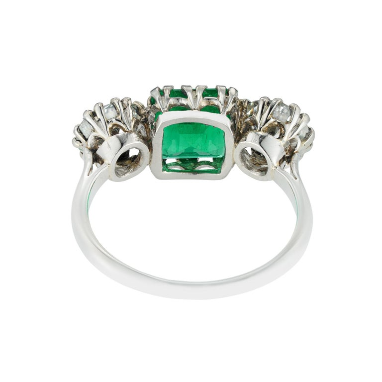 Art Deco Three-Stone Diamond and Emerald Ring For Sale