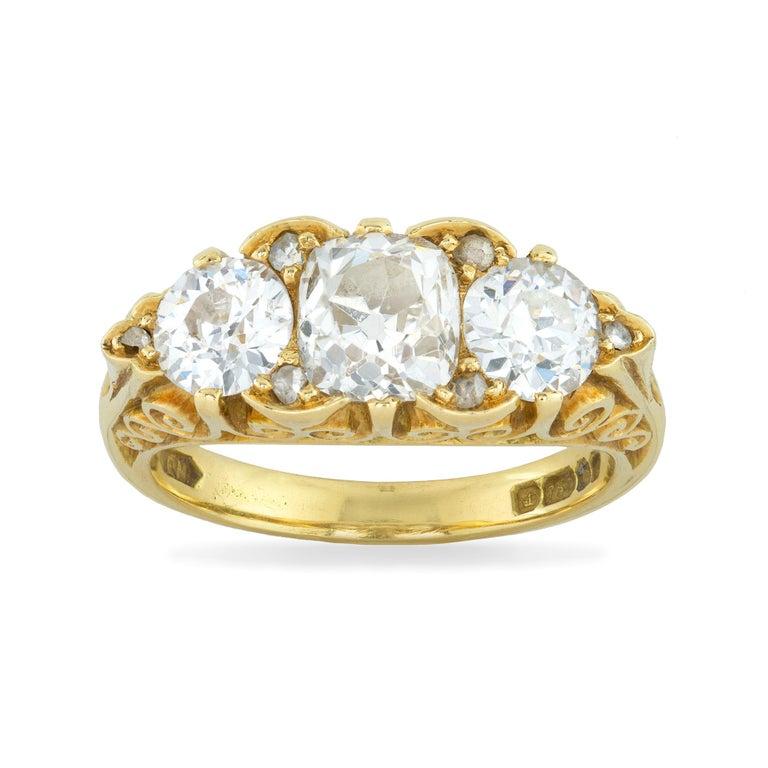 Old European Cut Three-Stone Diamond Victorian Style Ring For Sale