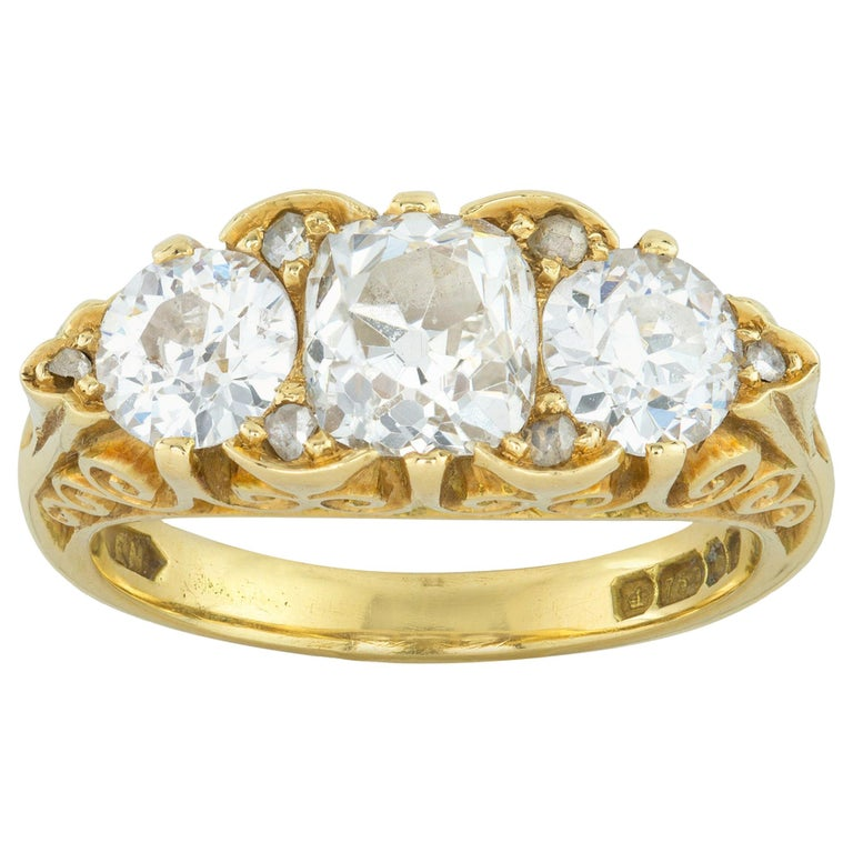Three-Stone Diamond Victorian Style Ring For Sale