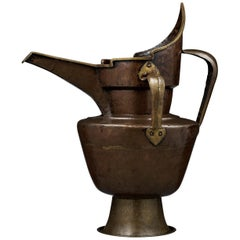 Tibetan-Chinese Parcel-Gilt Bronze 'Monk's Cap' Ewer, Sengmaohu, 15th Century