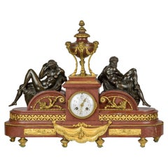 Tiffany & Co. Gilt Bronze and Rouge Marble Mantel Clock