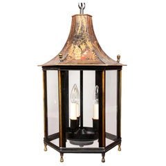 Tole Peinte Hexagonal Lantern Featuring Traditional Chinoiserie Imagery