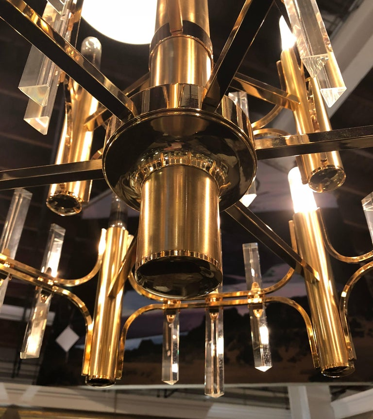 20th Century Tommi Parzinger Style Brass Chandelier Cylindrical Lights Crystal Prisms For Sale