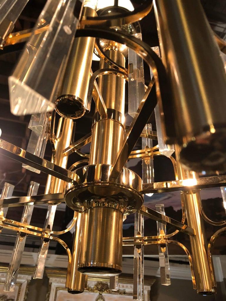 Tommi Parzinger Style Brass Chandelier Cylindrical Lights Crystal Prisms For Sale 1