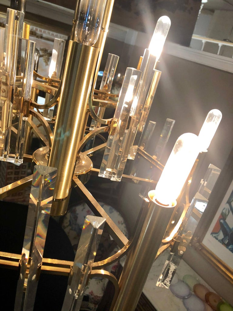 Tommi Parzinger Style Brass Chandelier Cylindrical Lights Crystal Prisms For Sale 2