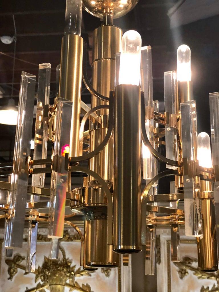 Tommi Parzinger Style Brass Chandelier Cylindrical Lights Crystal Prisms For Sale 3