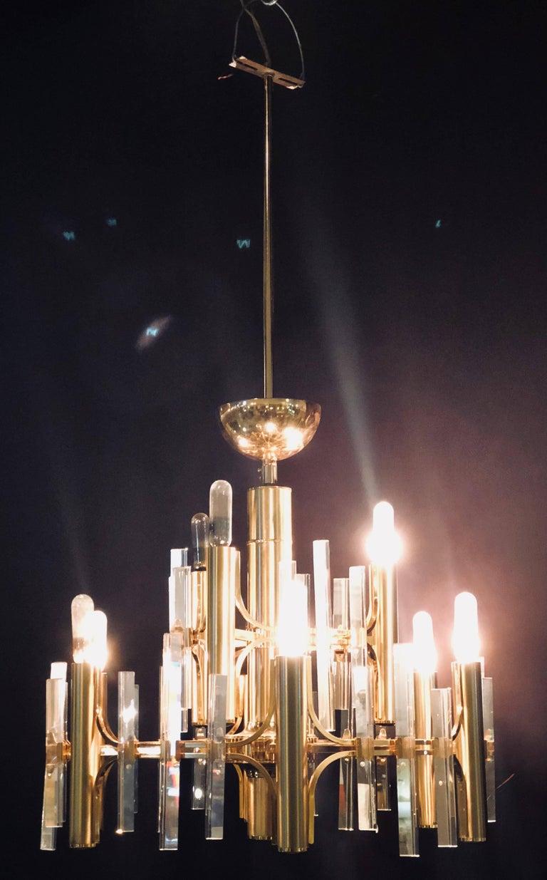 Tommi Parzinger Style Brass Chandelier Cylindrical Lights Crystal Prisms For Sale 4