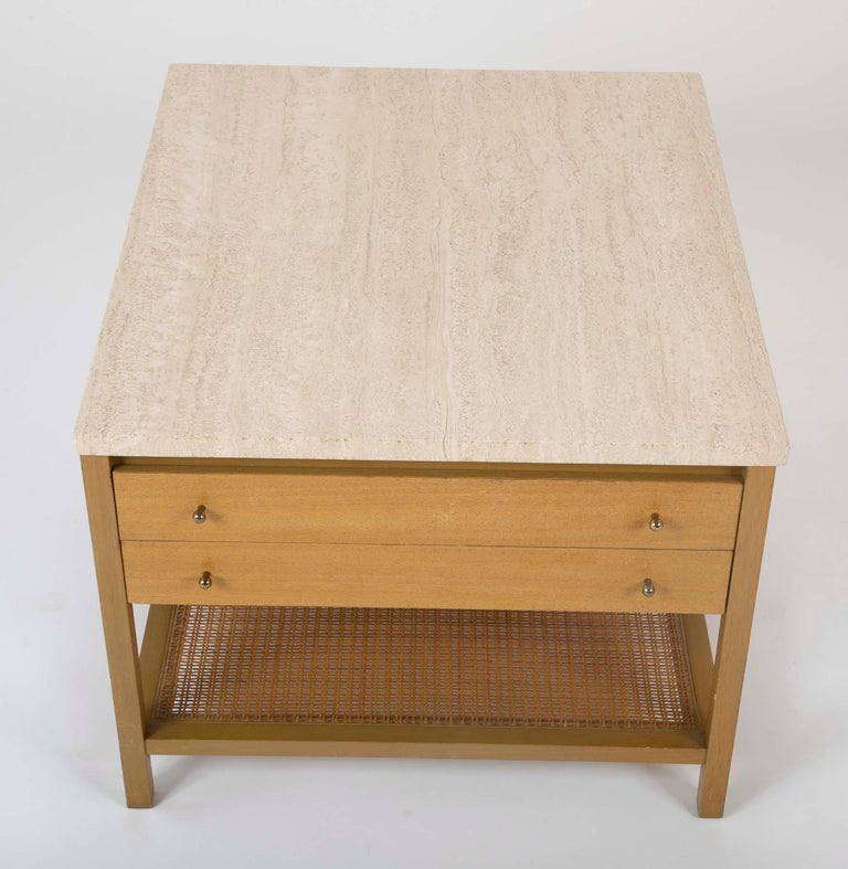 Mid-Century Modern Travertine Top Mahogany Side Table Designed by Paul McCobb  For Sale